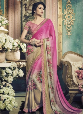 Sweet Lace Work Faux Georgette Classic Saree