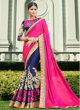 Sweet Navy Blue and Rose Pink  Half N Half Designer Saree