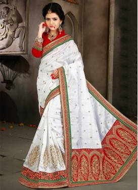 Sweetest Bhagalpuri Silk Red and White Contemporary Style Saree For Ceremonial