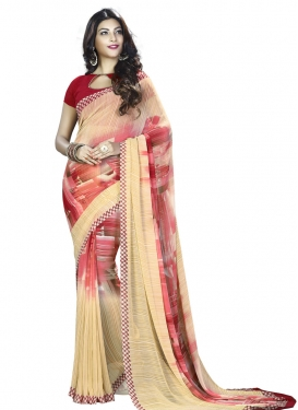 Sweetest Digital Print Work Faux Georgette Cream and Crimson Classic Saree