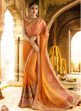 Sweetest  Faux Chiffon Contemporary Style Saree For Festival