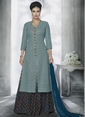 Sweetest Faux Georgette Light Blue and Navy Blue Embroidered Work Kameez Style Lehenga Choli