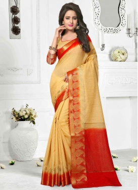 Sweetest Resham Work  Cotton Silk Contemporary Saree