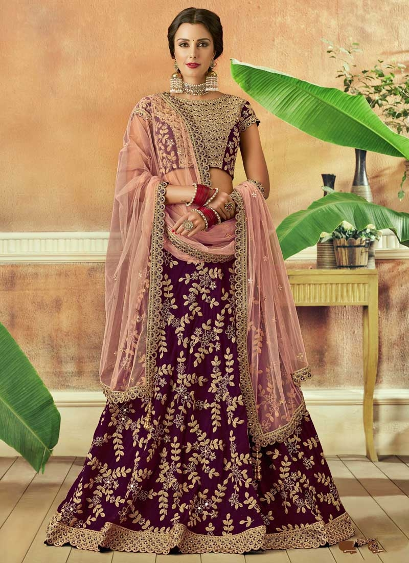 Tafeta Silk A Line Lehenga Choli For Bridal