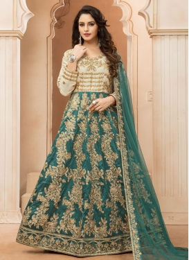 Tafeta Silk Ankle Length Anarkali Suit For Ceremonial