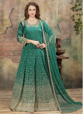 Tafeta Silk Beads Work Floor Length Anarkali Salwar Suit
