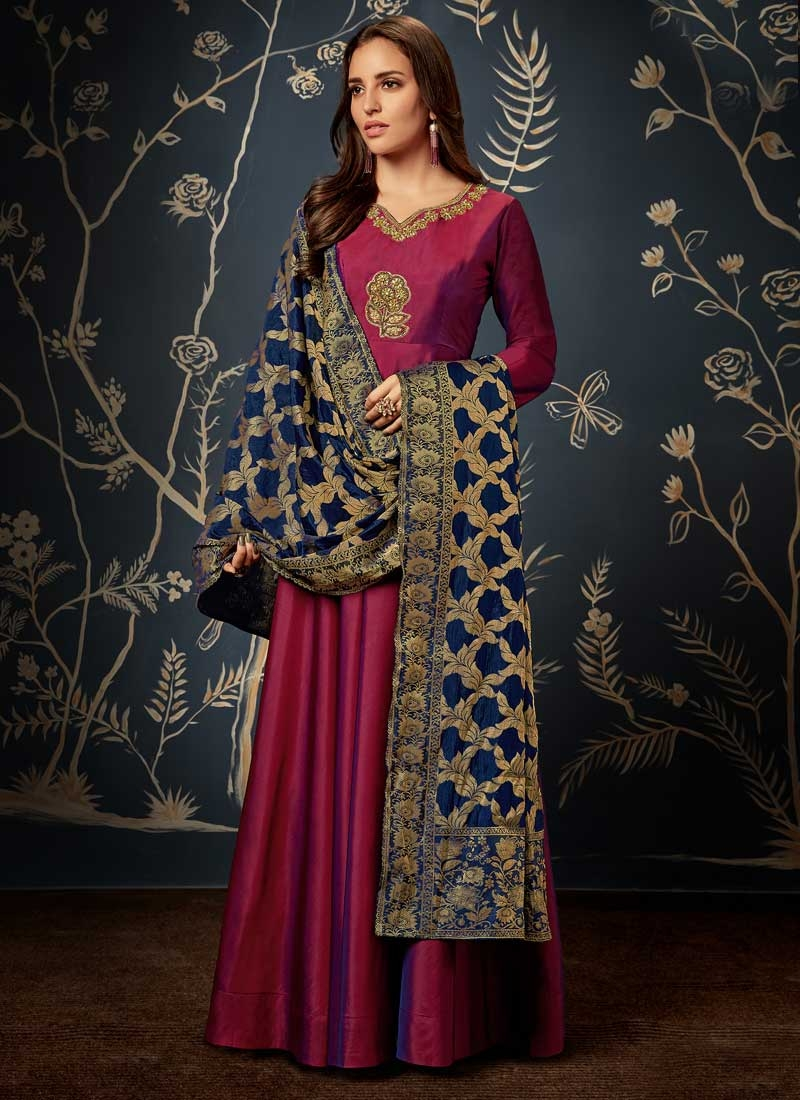 Tafeta Silk Beads Work Readymade Floor Length Gown