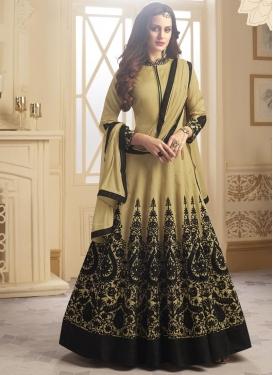 Tafeta Silk Black and Cream Floor Length Anarkali Salwar Suit