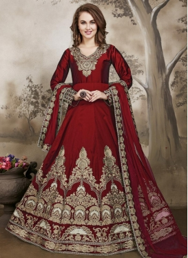 Tafeta Silk Booti Work Anarkali Salwar Suit For Ceremonial