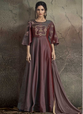 Tafeta Silk Brown and Maroon Readymade Gown