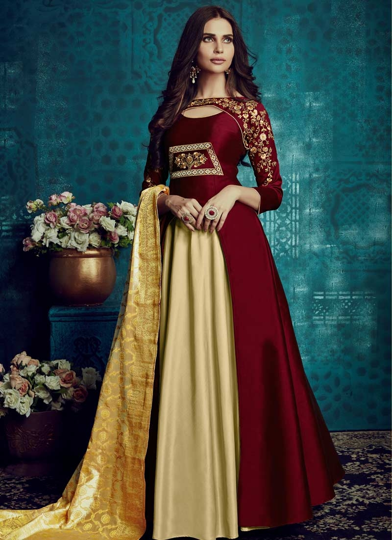 Tafeta Silk Cream and Maroon Embroidered Work Readymade Designer Gown