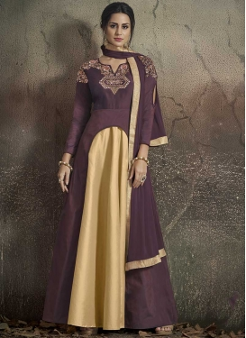Tafeta Silk Cream and Violet Embroidered Work Readymade Designer Gown