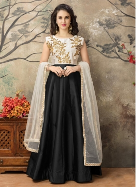 Tafeta Silk Embroidered Work Ankle Length Anarkali Salwar Suit