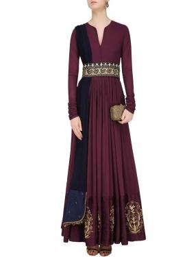 Tafeta Silk Embroidered Work Floor Length Designer Salwar Suit