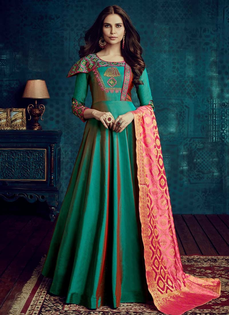 Tafeta Silk Embroidered Work Floor Length Trendy Gown
