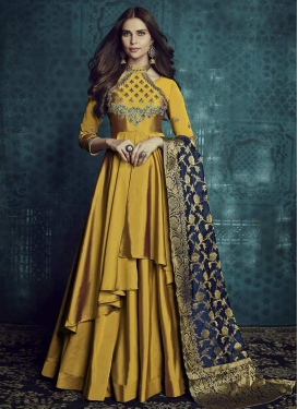 Tafeta Silk Embroidered Work Layered Trendy Gown