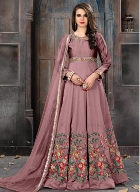 Tafeta Silk Embroidered Work Long Length Anarkali Salwar Suit