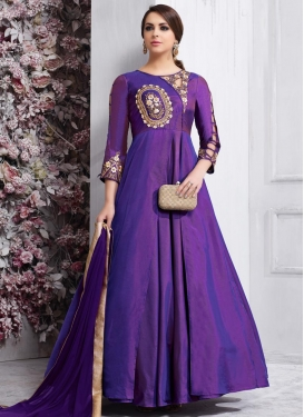 Tafeta Silk Embroidered Work Long Length Designer Suit
