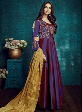 Tafeta Silk Embroidered Work Readymade Classic Gown