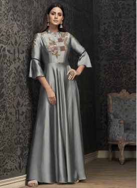 Tafeta Silk Embroidered Work Readymade Designer Gown