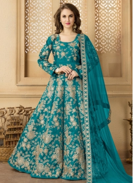 Tafeta Silk Embroidered Work Trendy Anarkali Salwar Kameez