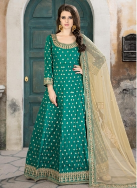 Tafeta Silk Floor Length Anarkali Salwar Suit