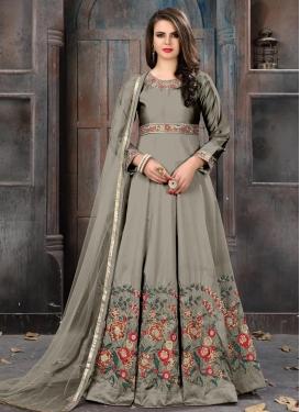 Tafeta Silk Floor Length Anarkali Salwar Suit For Festival