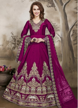Tafeta Silk Floor Length Anarkali Salwar Suit For Party
