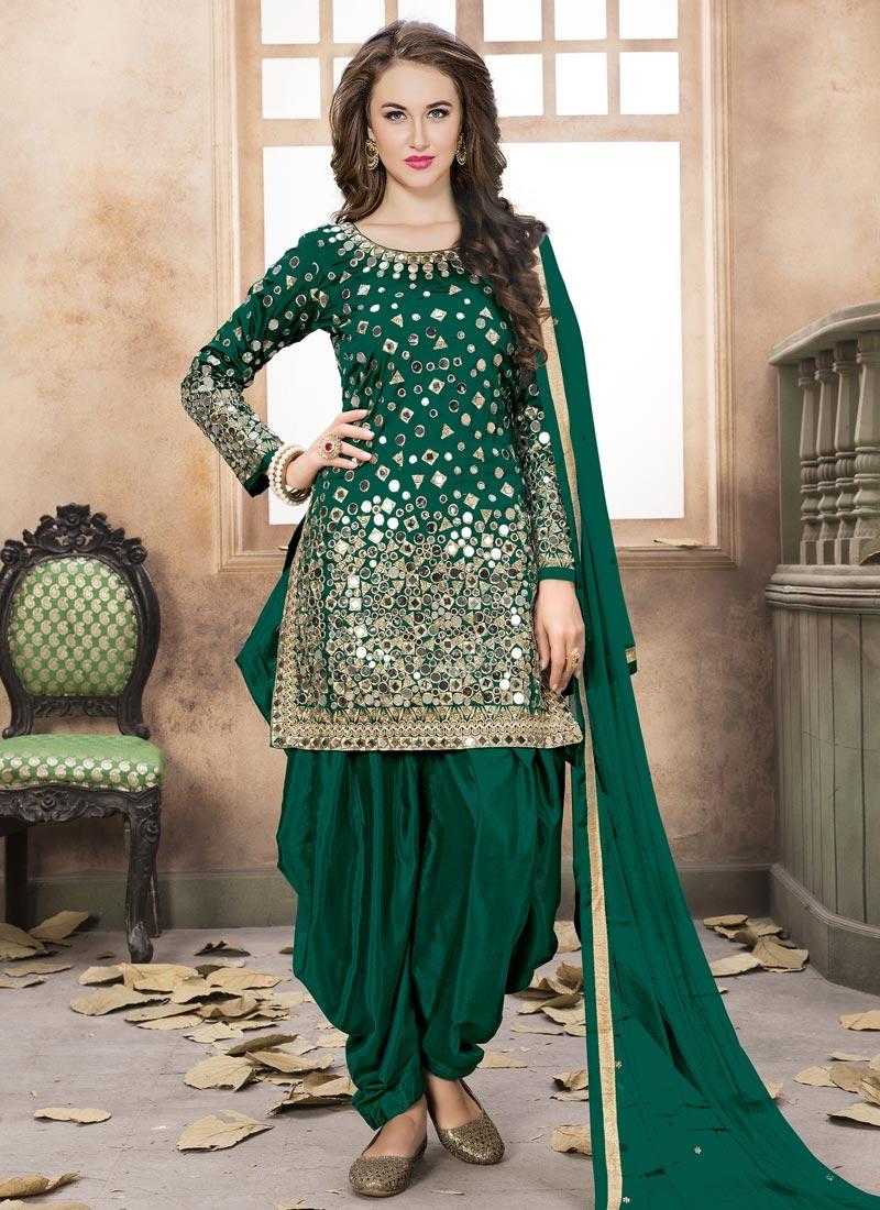Tafeta Silk Lace Work Designer Patiala Salwar Kameez