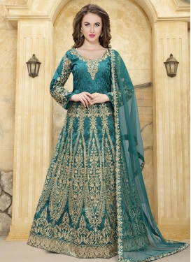 Tafeta Silk Long Length Anarkali Salwar Suit