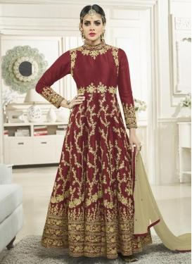 Tafeta Silk Long Length Anarkali Salwar Suit