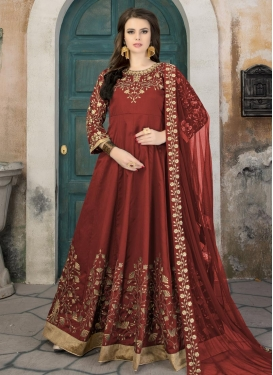 Tafeta Silk Long Length Designer Anarkali Suit