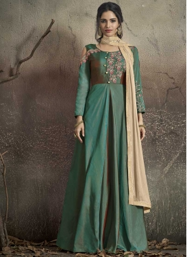 Tafeta Silk Readymade Designer Gown For Festival
