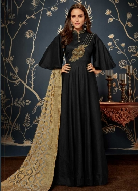 Tafeta Silk Readymade Long Length Gown