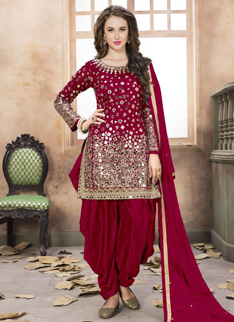0998d77bc0 Buy Tafeta Silk Semi Patiala Salwar Kameez For Ceremonial Online