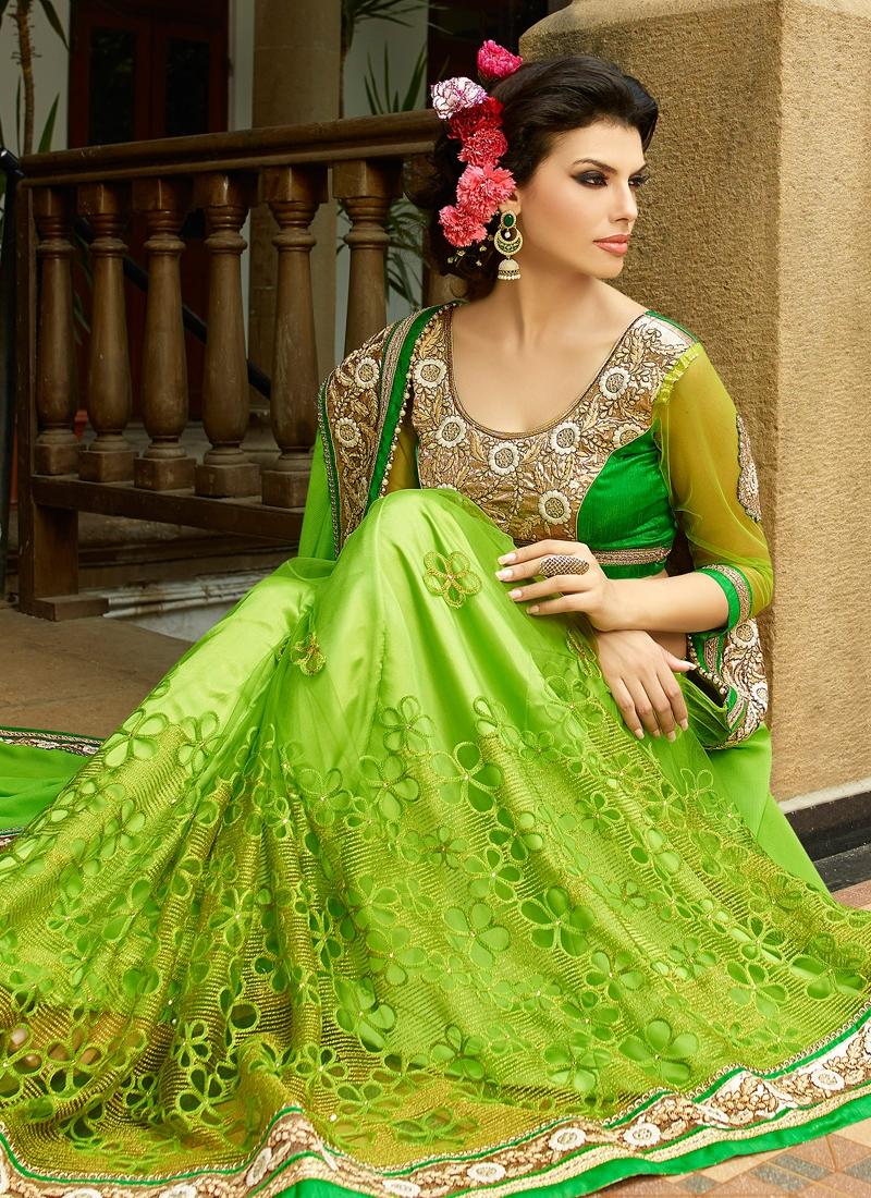 Talismanic Aloe Veera Green Color Net Designer Saree