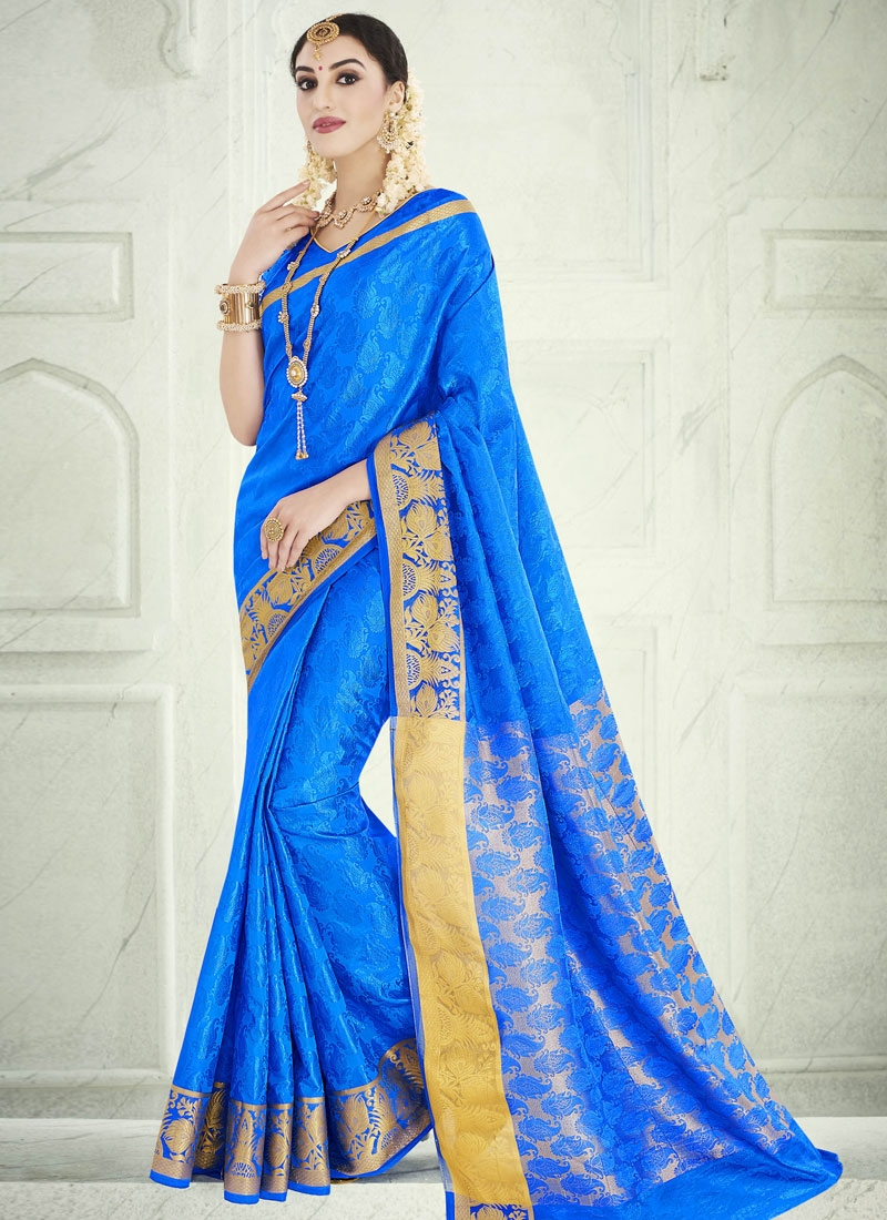 Talismanic Banarasi Silk Blue Color Party Wear Saree