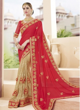 Talismanic  Beads Work Beige and Crimson Half N Half Designer Saree