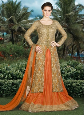 Talismanic Beige and Orange Booti Work Kameez Style Lehenga Choli