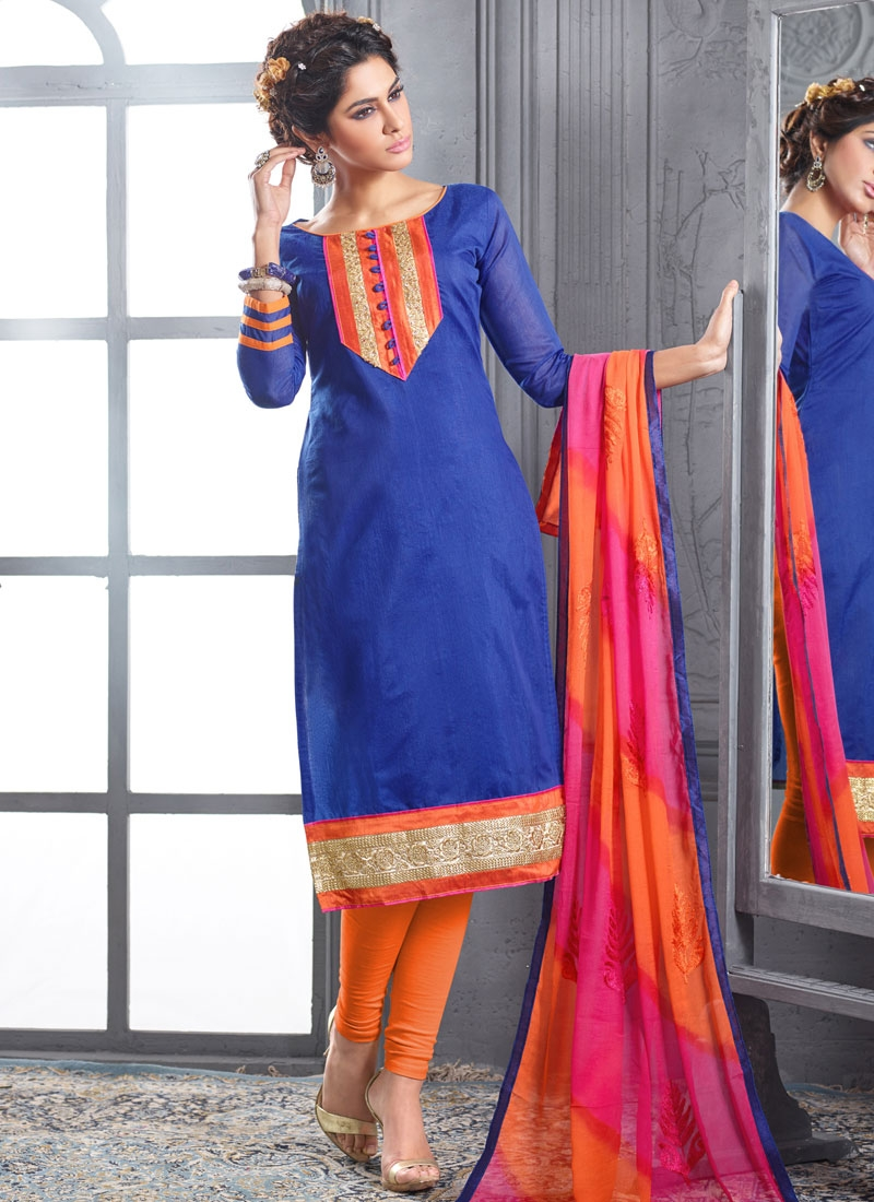 Talismanic Blue And Orange Color Casual Salwar Kameez