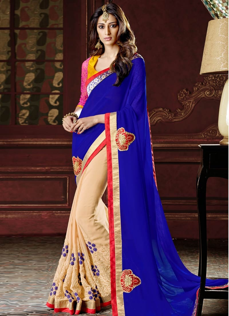 Talismanic Blue Color Booti Work Half N Half Casual Saree