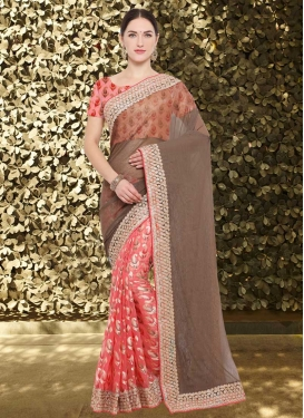 Talismanic Brown and Salmon Half N Half Designer Saree For Festival