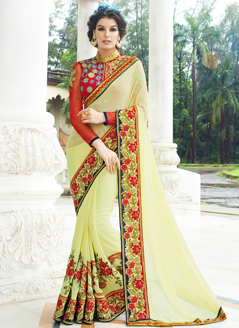 Talismanic Cream Color Floral Work Designer Saree