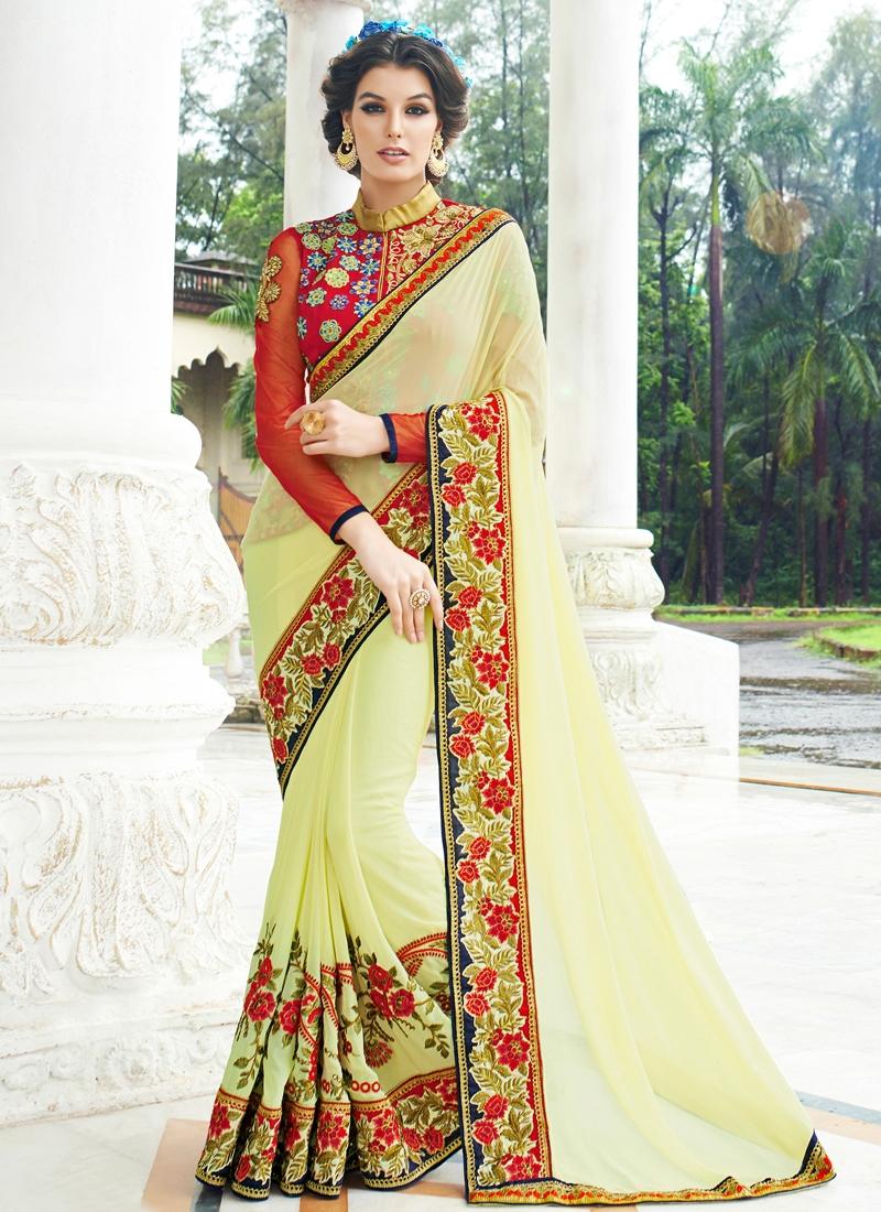 Talismanic Cream Color Floral Work Designer Saree