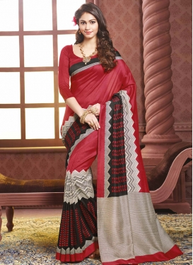 Talismanic Crimson Color Resham Work Party Wear Saree
