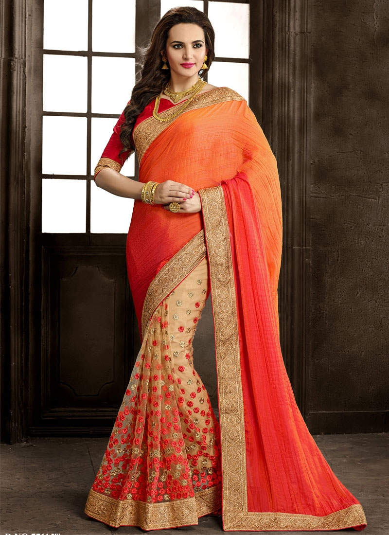 Talismanic Crush And Net Half N Half Wedding Saree