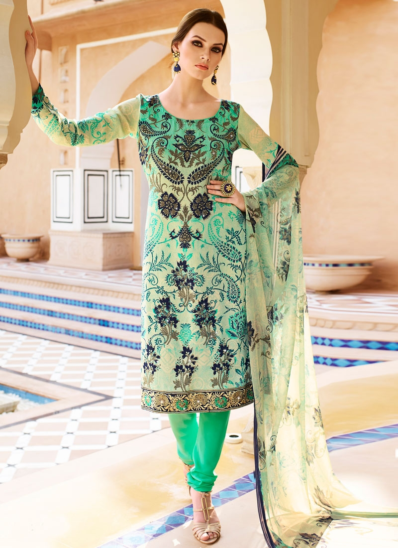 Talismanic Digital Print And Stone Churidar Salwar Kameez