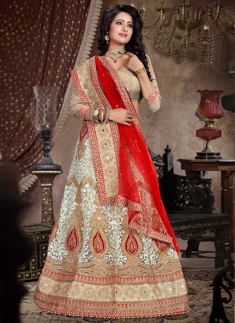 Talismanic Embroidery And Booti Work Bridal Lehenga Choli