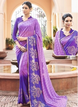 Talismanic  Faux Georgette Print Work Blue and Violet Classic Saree