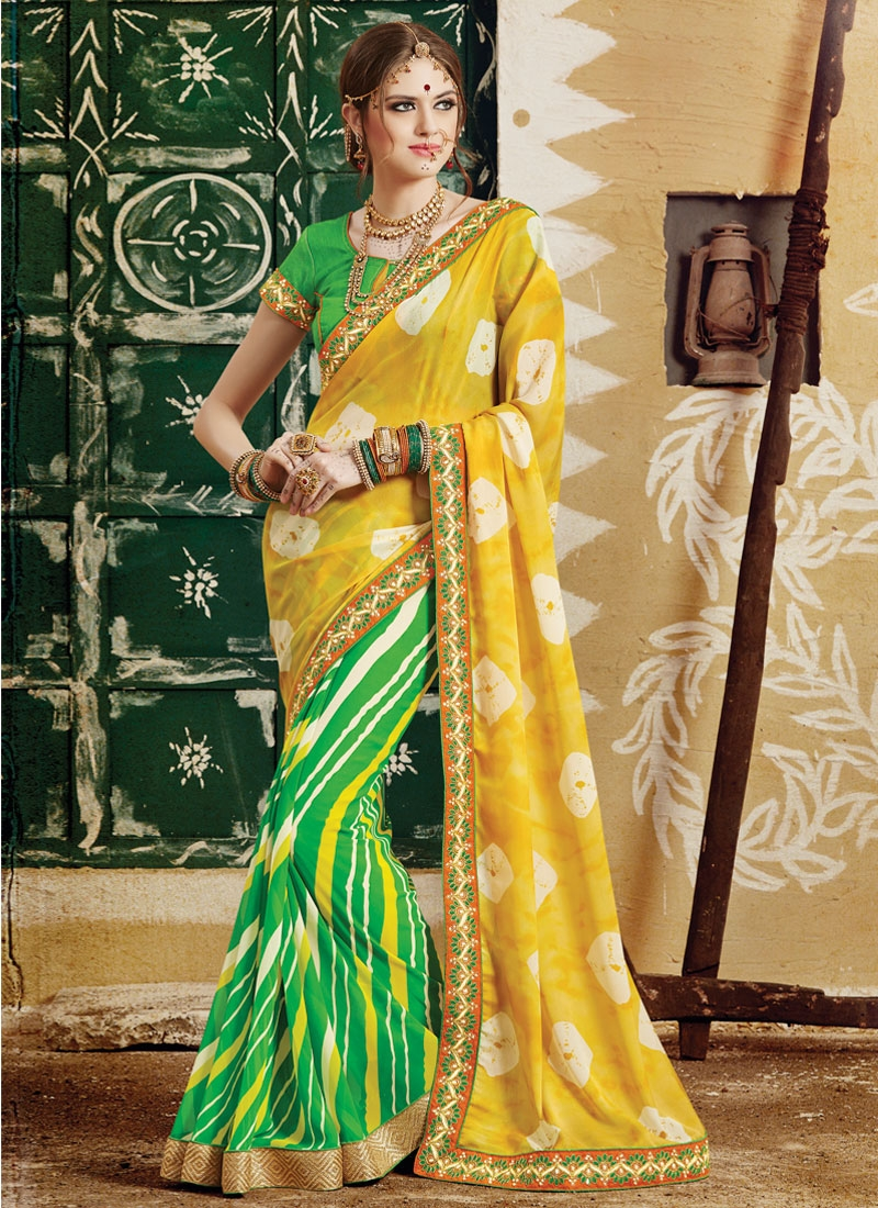 Talismanic Green Color Lace Work Half N Half Party Wear Saree
